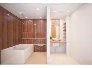 ■参考予想パース■ 横に広い大きな鏡で高級感のある空間を演出。換気機能でカビの発生を抑制して清潔・快適なバスルームをご提供します。